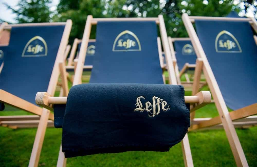 Branded Leffe Deck Chairs at Pop Up Cinema Events