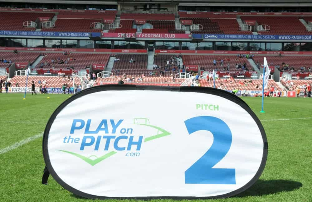 Play On The Pitch branded pop out event banners | XG Group