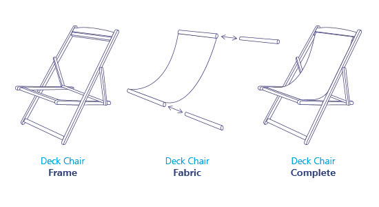 Branded deckchairs interchangeable graphics diagram | XG Group
