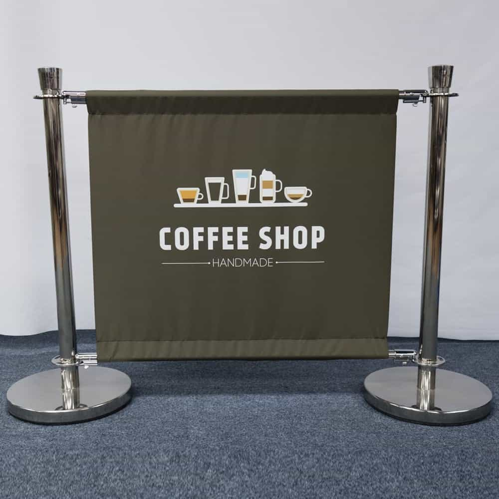 Cafe Barrier with printed canvas banner