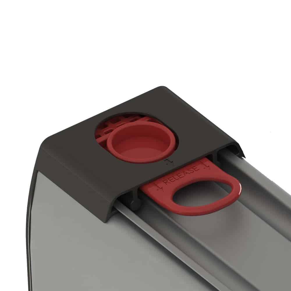 Cassette roller banner graphic release mechanism close up