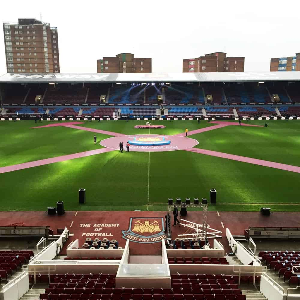 Centre circle banner and pitch strips for West Ham United | XG Group