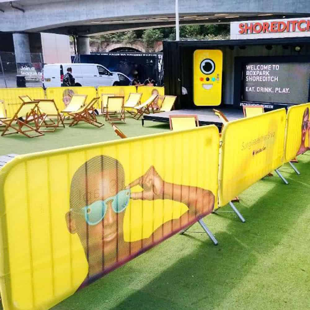 Branded Snapchat crowd barrier covers | XG Group