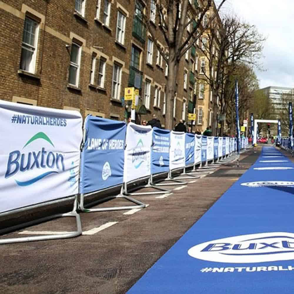 Event barrier covers branded for London Marathon | XG Group
