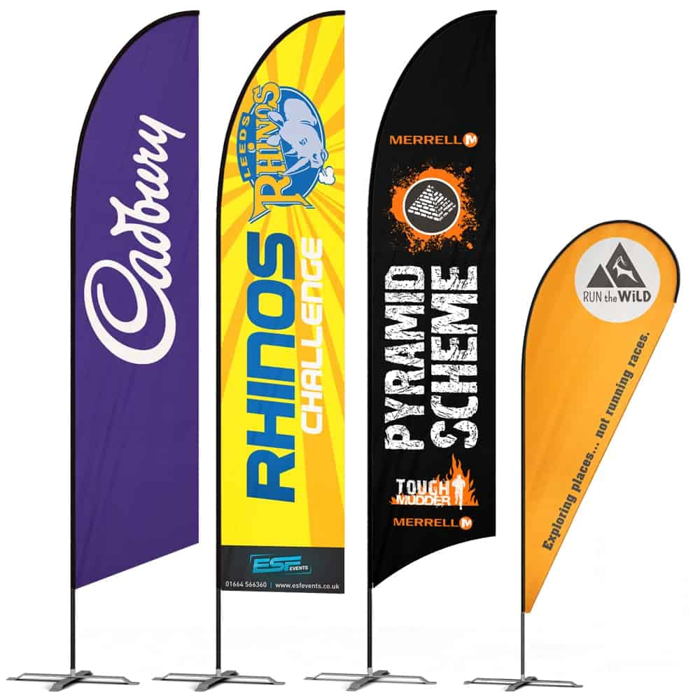 Printed Feather Flags in a range of shapes & sizes | XG Group