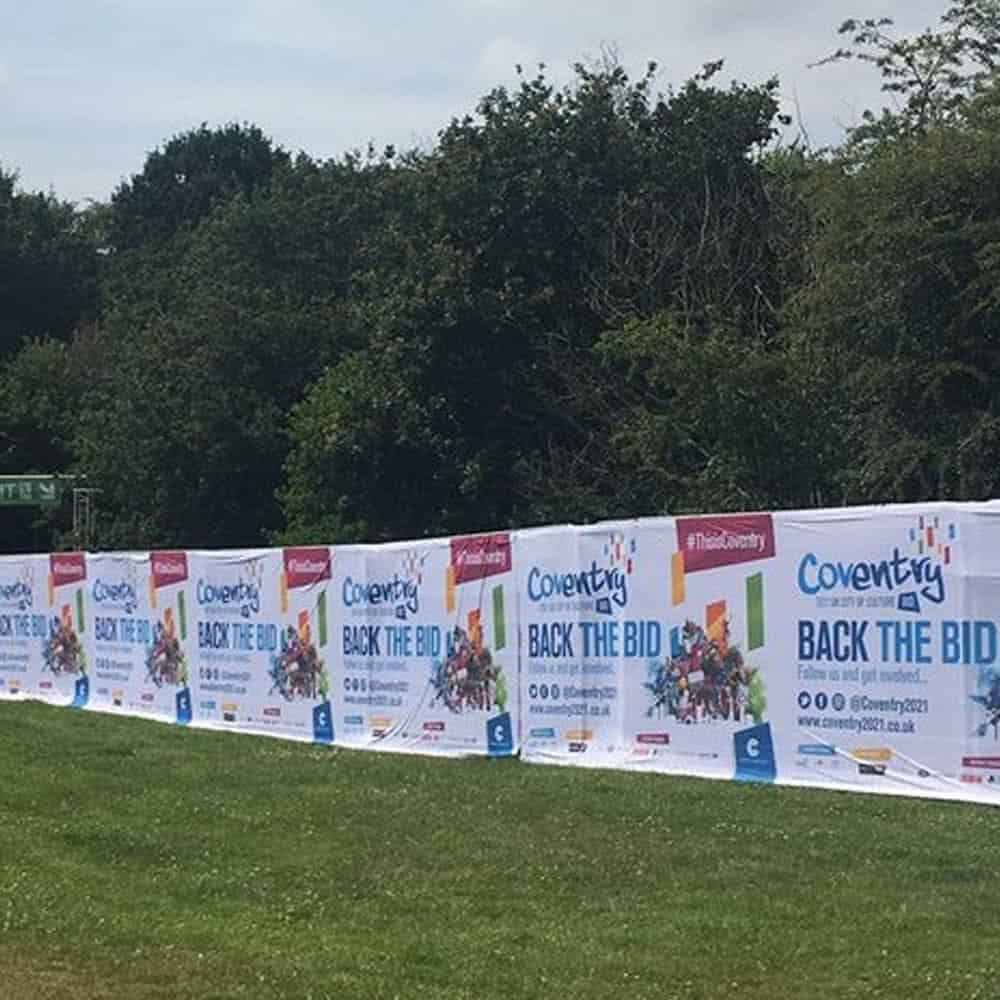 Full colour printed heras fence banners   XG Group