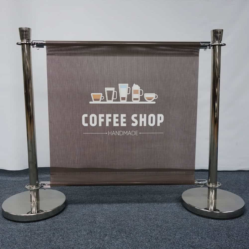 Cafe Barrier with Printed Mesh Banner
