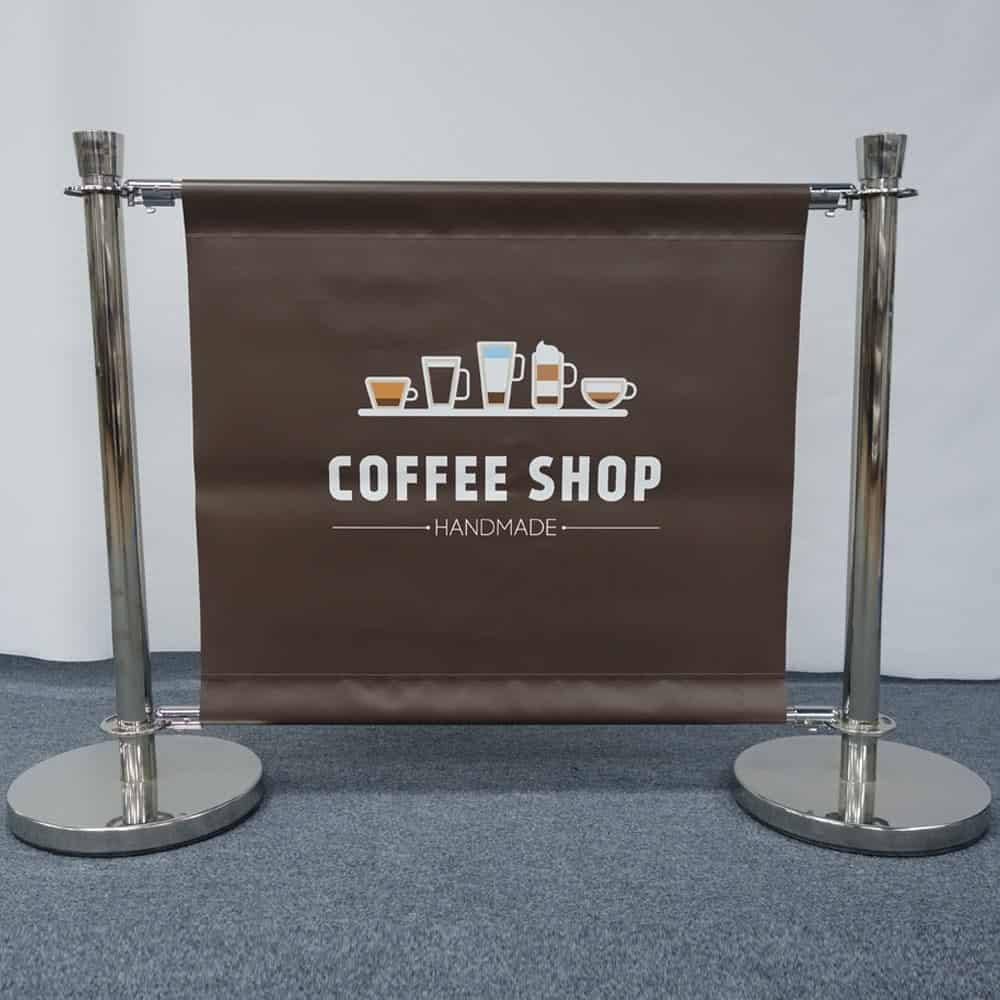 Cafe Barrier with printed PVC Banner