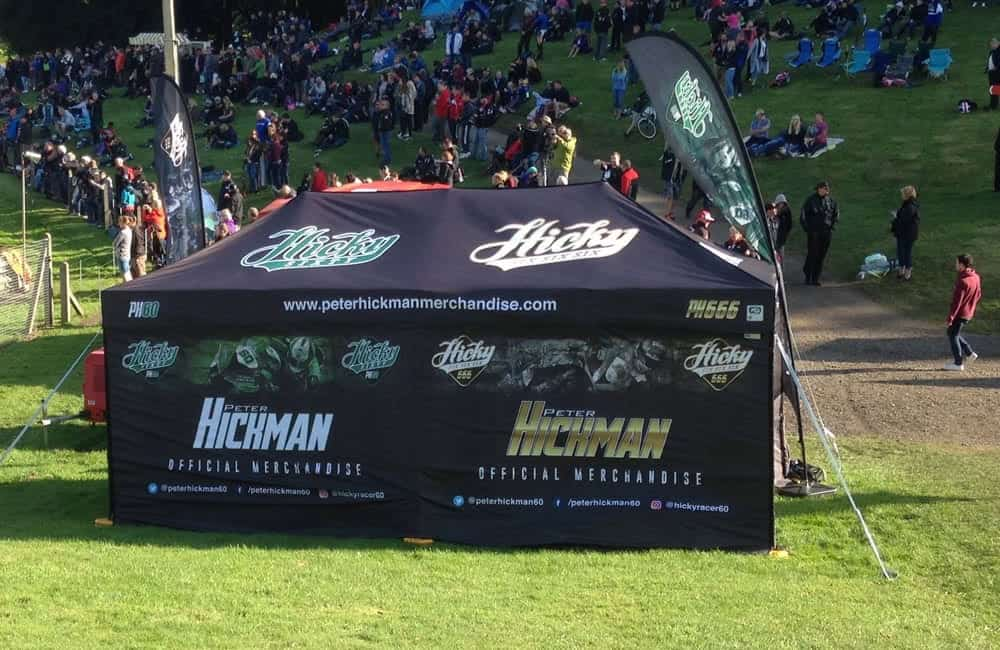 Branded gazebo at Superbikes for Peter Hickman merchandise stall | XG Group