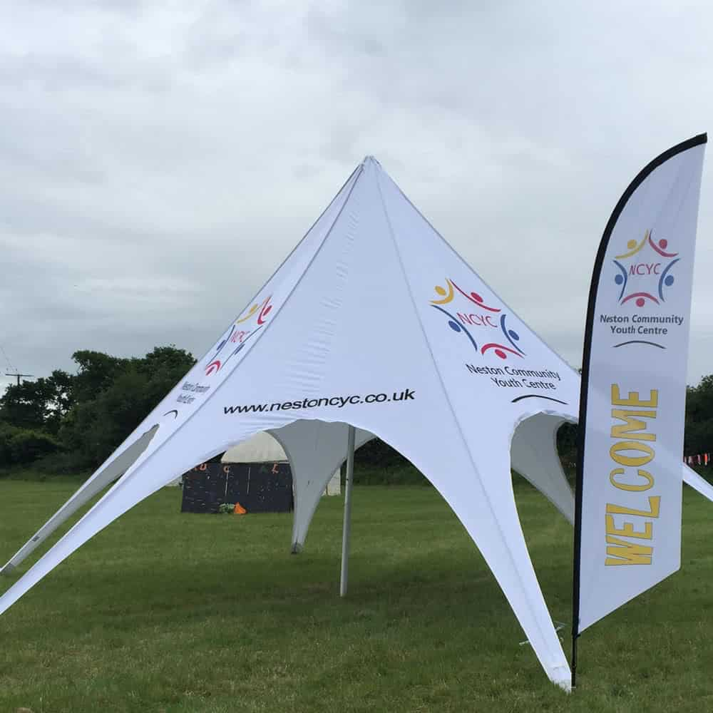 Printed star tents for events | XG Group