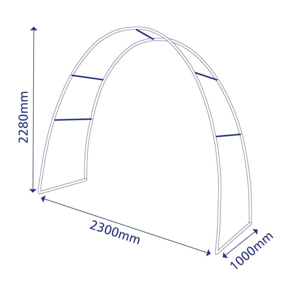 Stretch fabric display arch | size diagram | SFS
