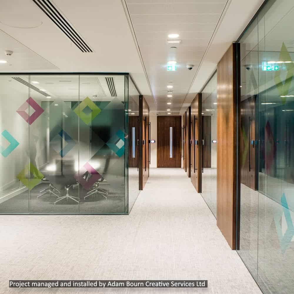 Window film graphics for office spaces