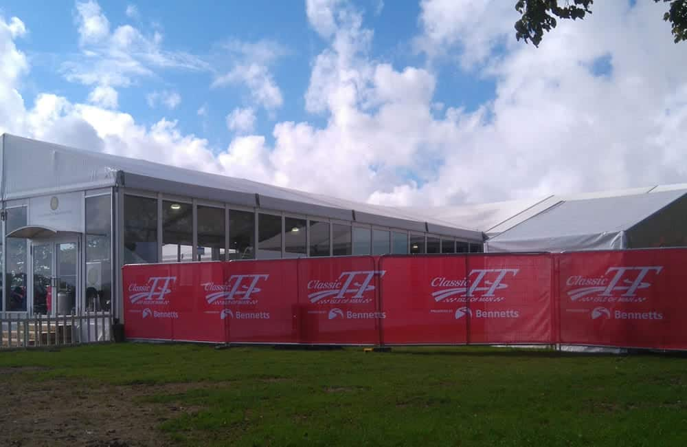 Branded Heras Fencing Banners | Isle of Man Classic TT