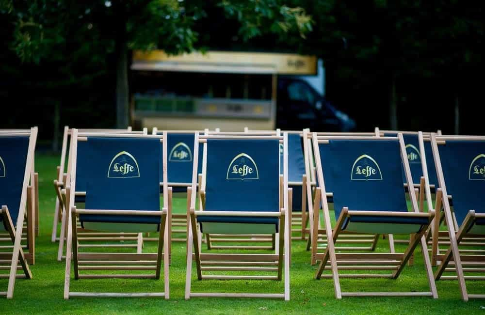 Leffe Picturehouse Pop Up Cinema branded deckchairs