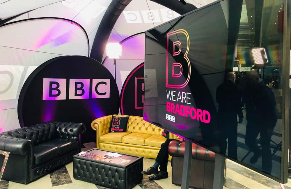 BBC Branded Stretch Fabric 3D Disk Displays