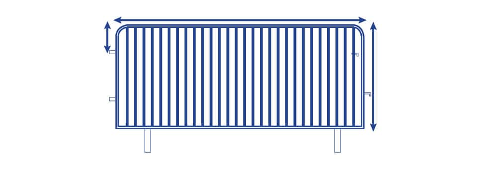 Crowd Barrier Covers | Barrier Size Diagram