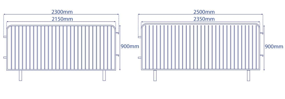 Crowd Barrier Covers Sizes Diagram | XG Group