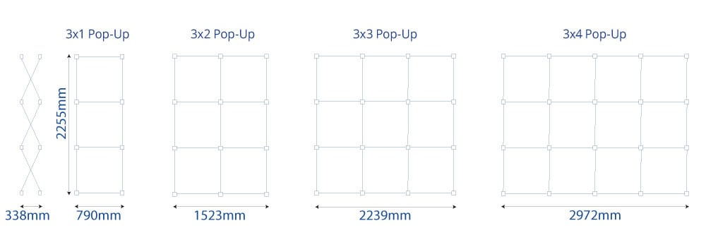 Embrace Pop Up Displays Sizes | XG Group