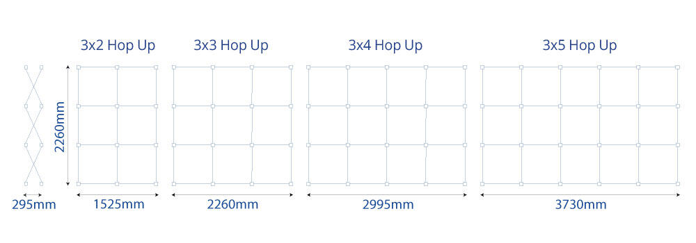 Fabric Hop Up Sizes