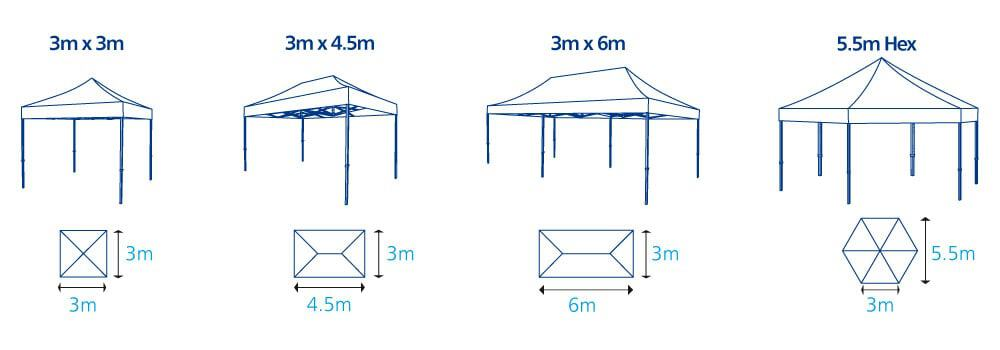 Pop Up Event Gazebos Sizes | XG Group
