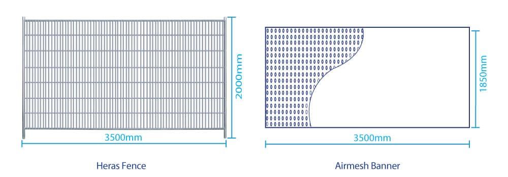 Heras Fence Airmesh Banner Sizes | XG Group