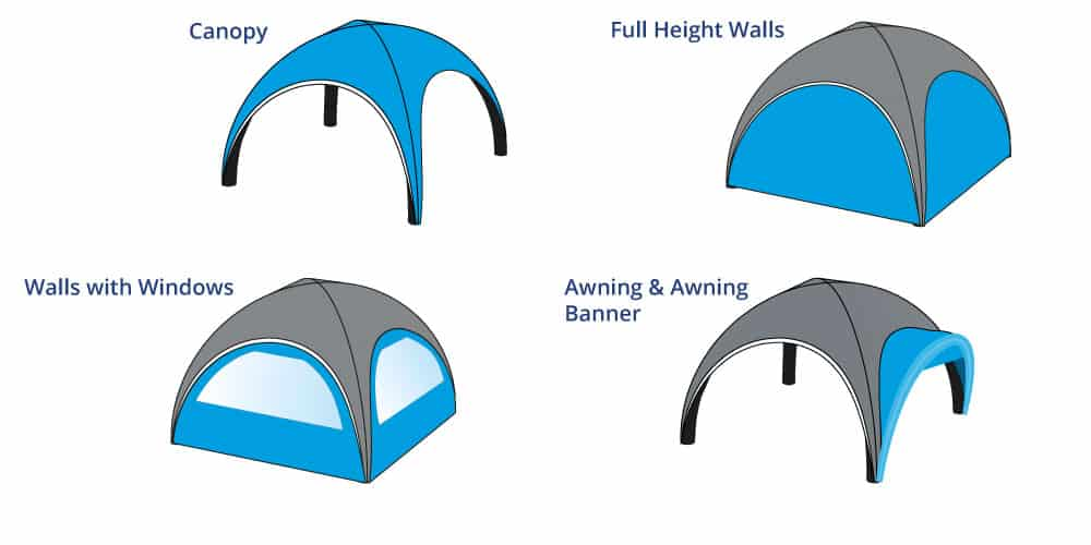 Inflatable Dome Tents Options Diagram