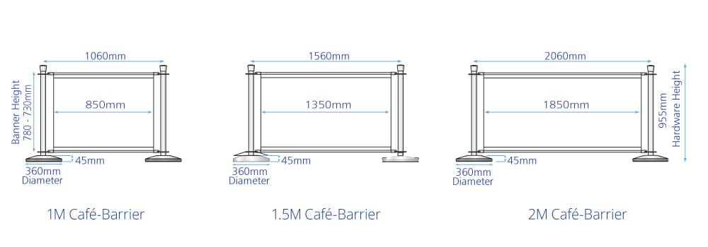 Cafe Barrier Banner Sizes