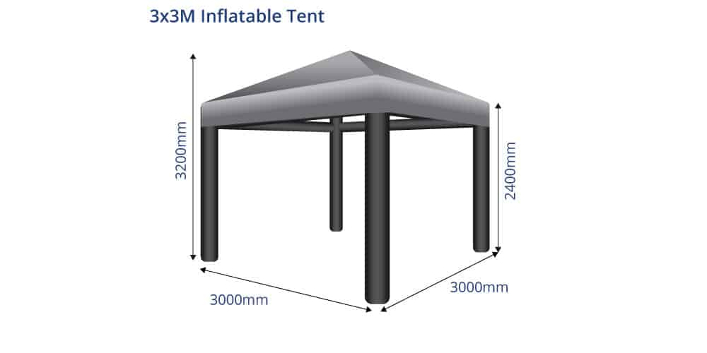 Inflatable 3x3 Gazebo Event Tent Sizes
