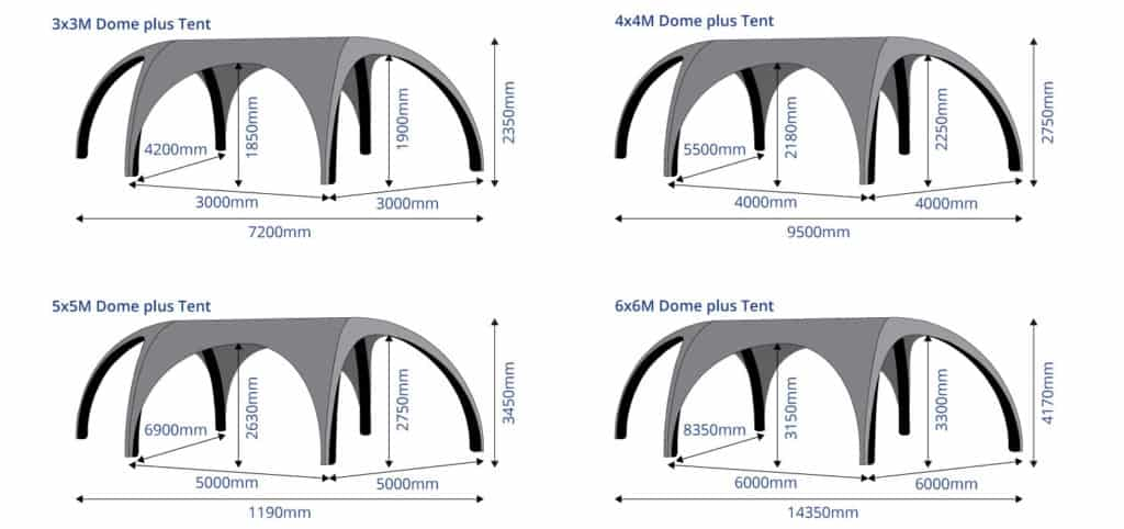 Inflatable Dome Plus Event Tents Sizes